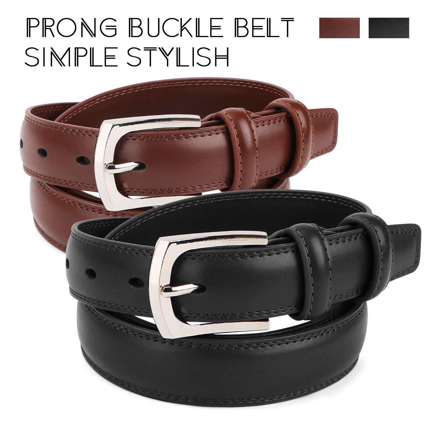 Mens Leather Belt Black /& Brown Dress Belt Single Prong Punched Gold Buckle