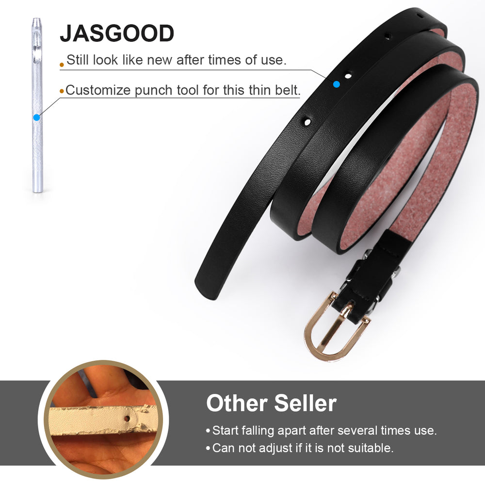 JASGOOD Women's Skinny PU Leather Belt Solid Color Thin Waist Belt with Gold Buckle for Jeans Pants 1/2 Width - JASGOOD-OFFICIAL