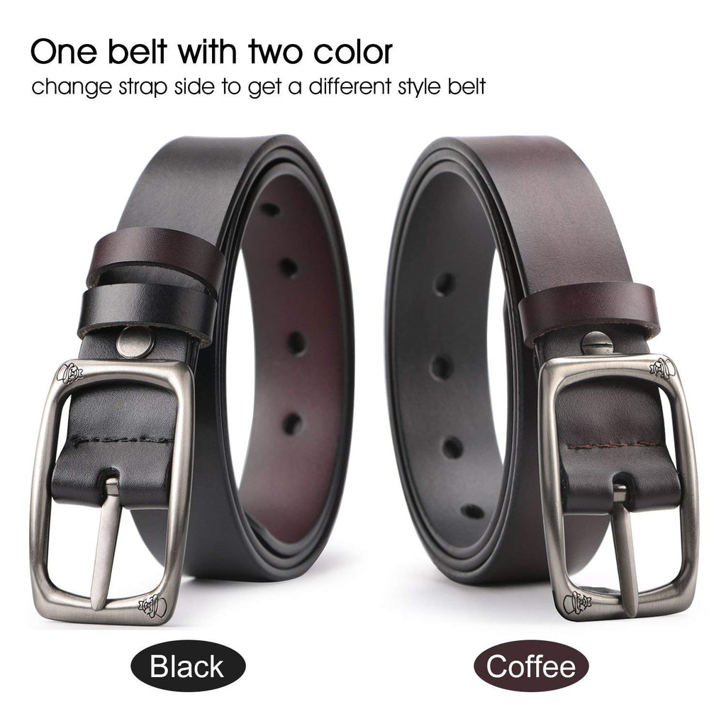 Women Leather Reversible Belt for Jeans Dress Pants Casual Ladies Belt for Girls with Solid Buckle By JASGOOD - JASGOOD-OFFICIAL