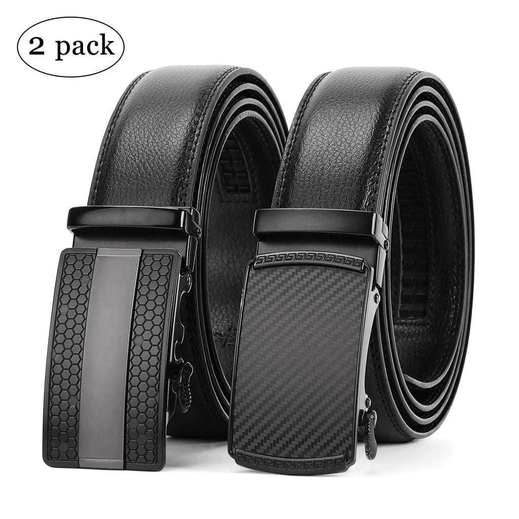 "WERFORU 2 Pack Leather Ratchet Dress Belt for Men Perfect Fit Waist Size Up to 44"" with Automatic Buckle - JASGOOD-OFFICIAL"