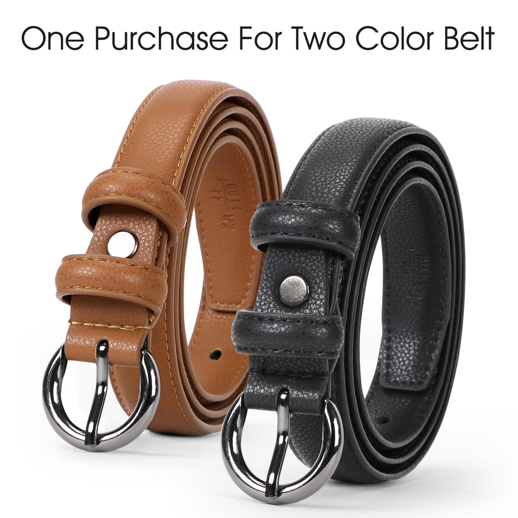 Women Leather Belt Waist Skinny Dress Belts Solid Pin Buckle Belt For Jeans Pants