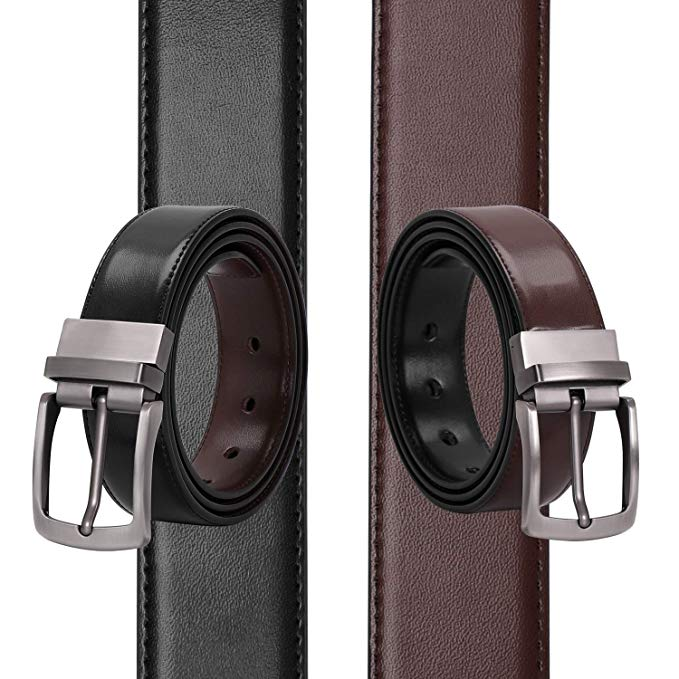 JASGOOD Men's Belt, Leather Reversible Belt for Men Black and Brown Dress Belt Rotate Buckle Gift Box