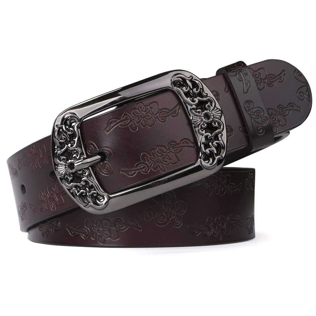 Western Fashion Leather Belts For Women With Vintage Hollow Flower Buckle
