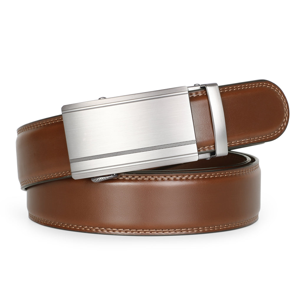 Men's Leather Ratchet Belt Comfort Dress Belt for Men with Automatic Buckle in Gift Box - JASGOOD-OFFICIAL