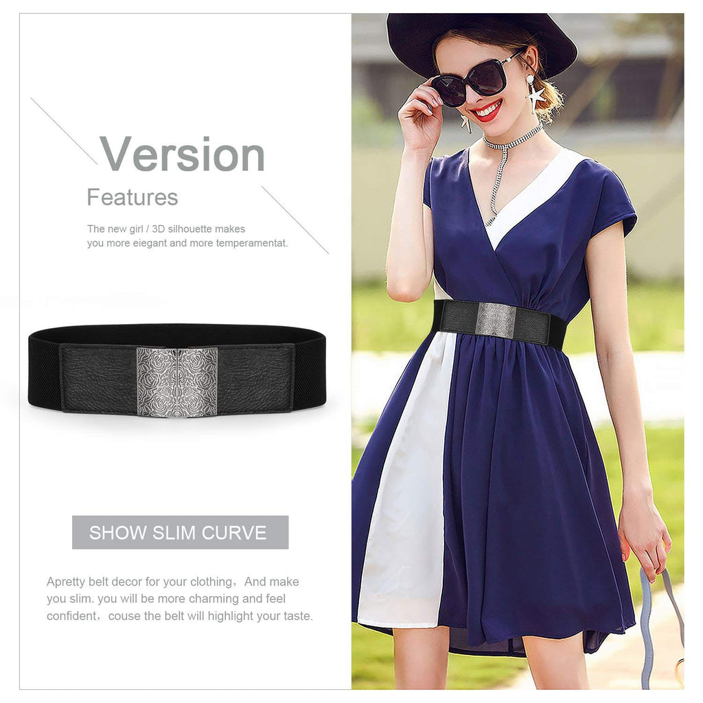 Women Wide Elastic Waist Belt Waistband Stretch Cinch Belt with Interlock Buckle By JASGOOD