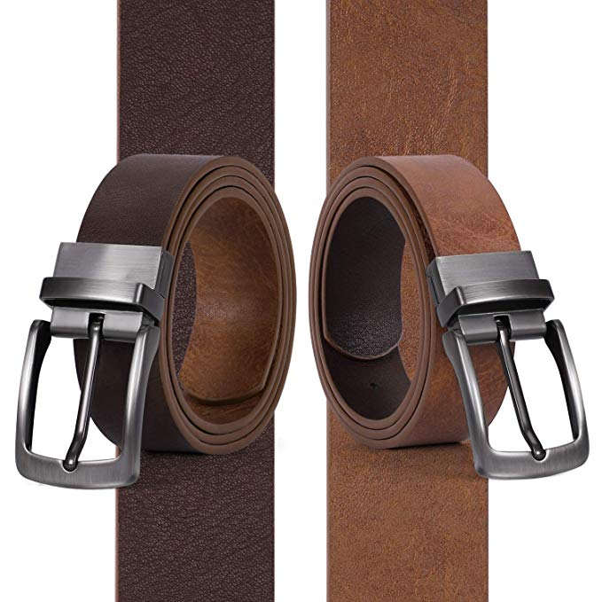 JASGOOD Men Leather Reversible Belt Black /Coffee/ Brown Dress Belt Rotate Buckle Gift Box