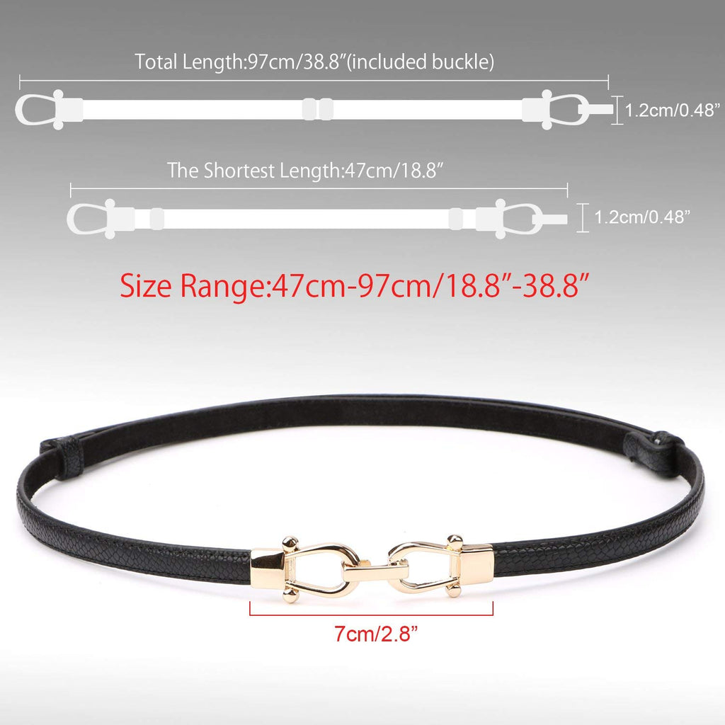 "Leather Skinny Women Belt Thin Waist Belts for Dresses Up to 37"" with Interlocking Buckle 2 Pack - JASGOOD-OFFICIAL"
