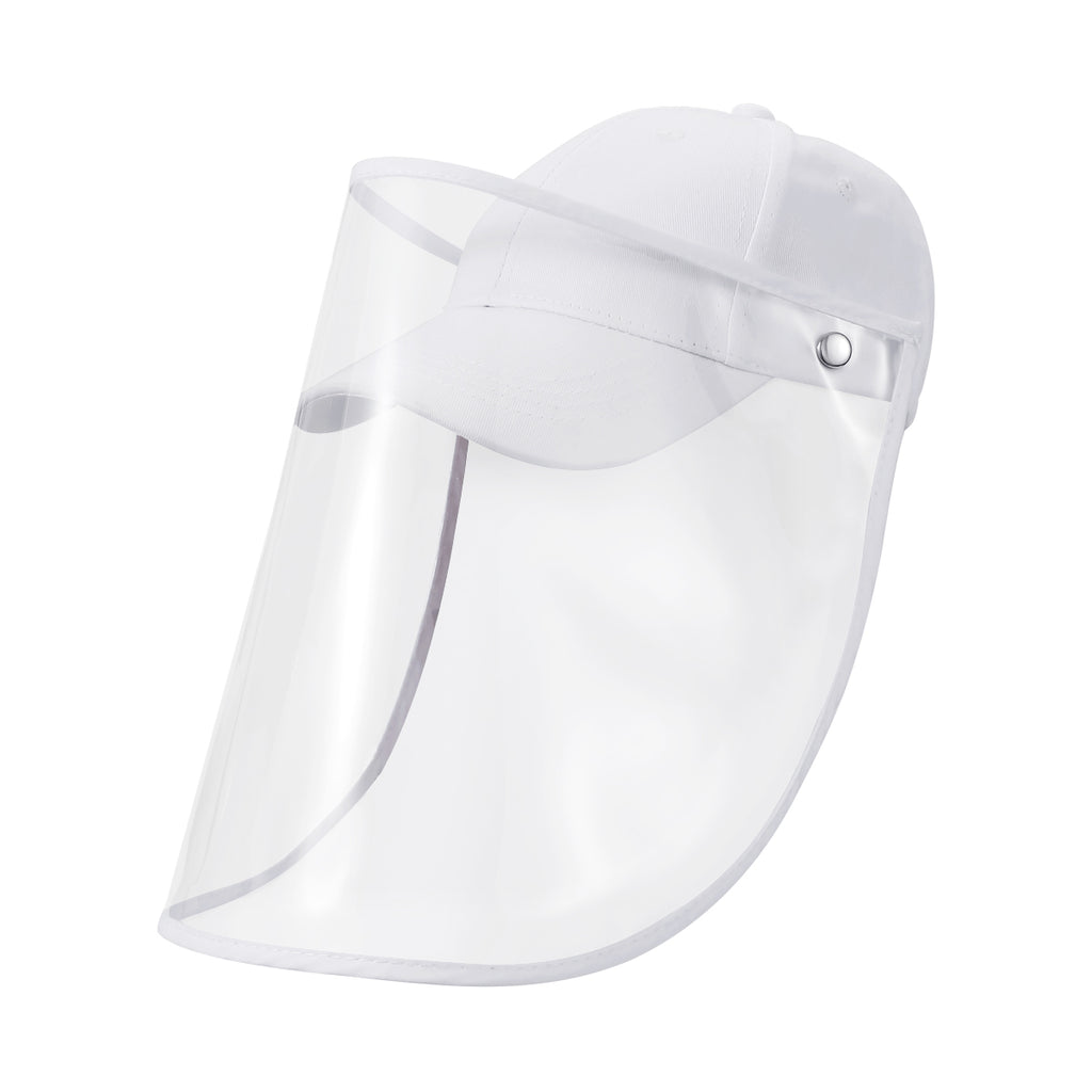 Safety Face Shield Hat, Full Face Protective Shield Anti-Spitting Anti-Saliva Splash Face & Eye, Reusable Baseball Cap with Face Shield and Detachable Transparent