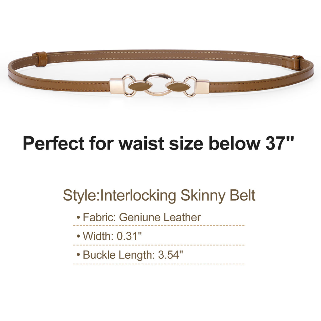 JASGOOD Women Skinny Leather Belt Adjustable Thin Waist Belt with Metal Buckle for Dress