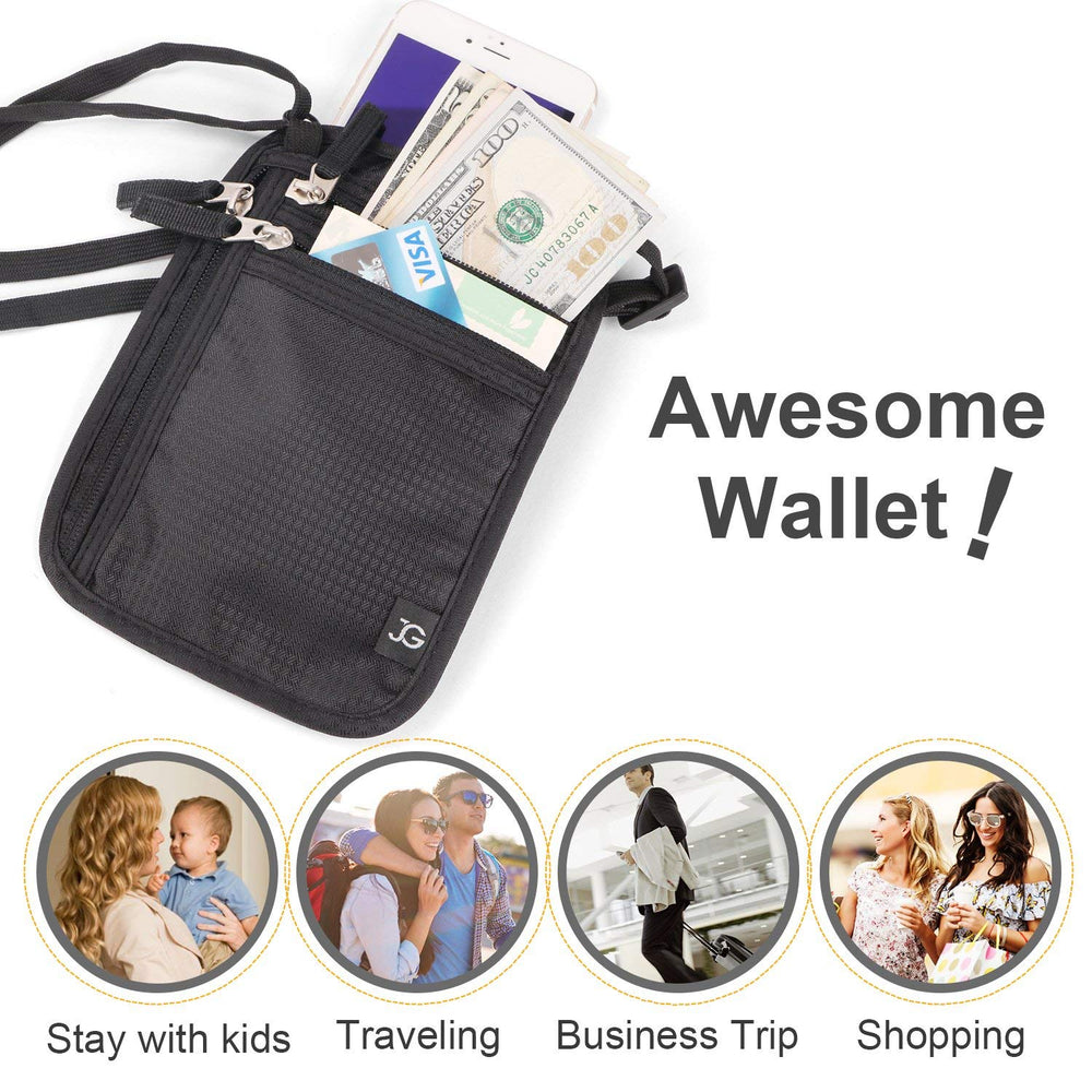 Neck Wallet RFID Blocking- Passport Holder/Concealed Travel Pouch Wallet Carrier - JASGOOD-OFFICIAL
