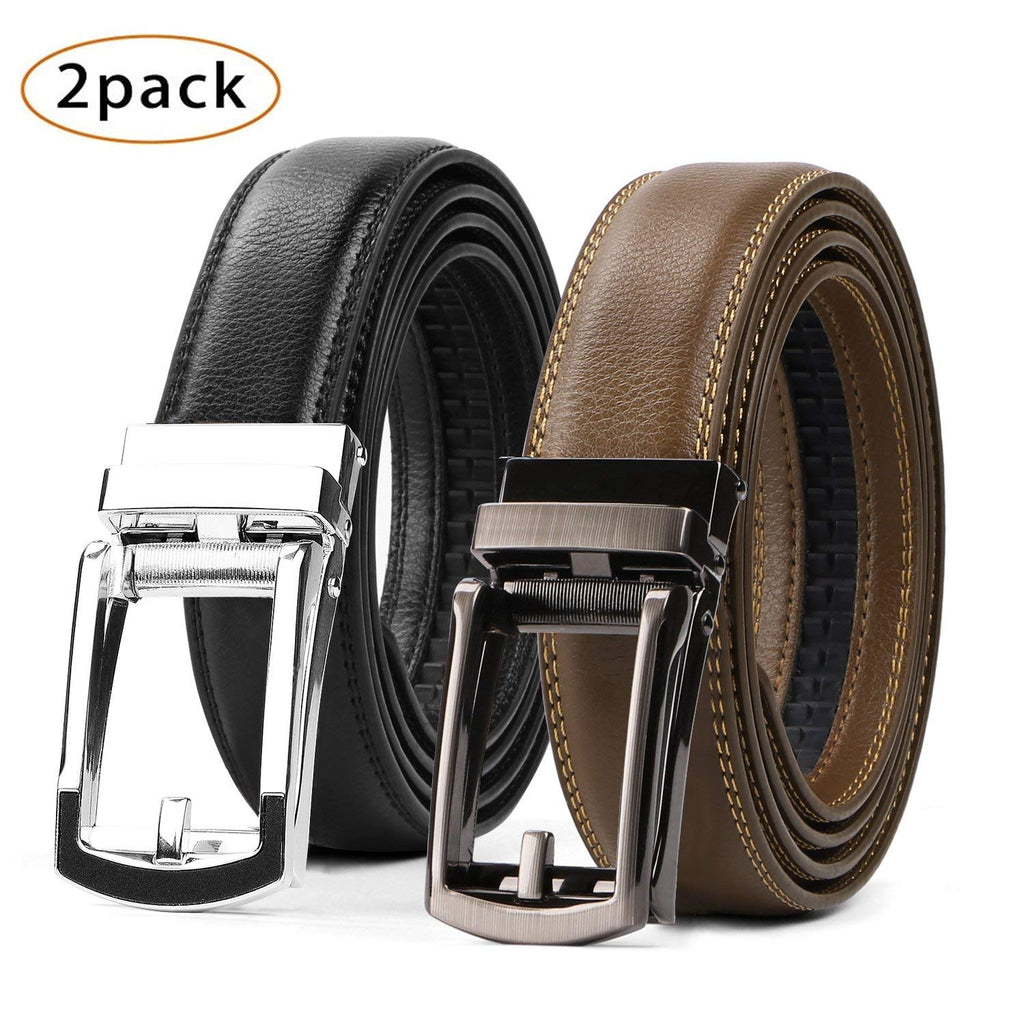 2 Pack Leather Ratchet Dress Belt  with Automatic Buckle for men by JASGOOD - JASGOOD OFFICIAL
