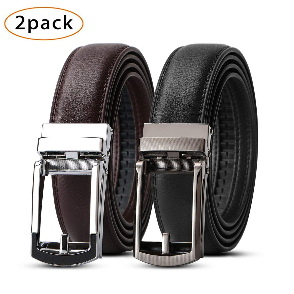 2 Pack Leather Ratchet Dress Belt for men with Automatic Buckle by JASGOOD - JASGOOD-OFFICIAL