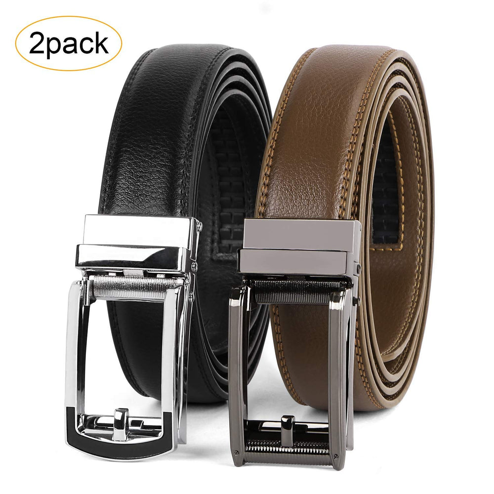 2 Pack Leather Ratchet Dress Belt  with Automatic Buckle for men by JASGOOD