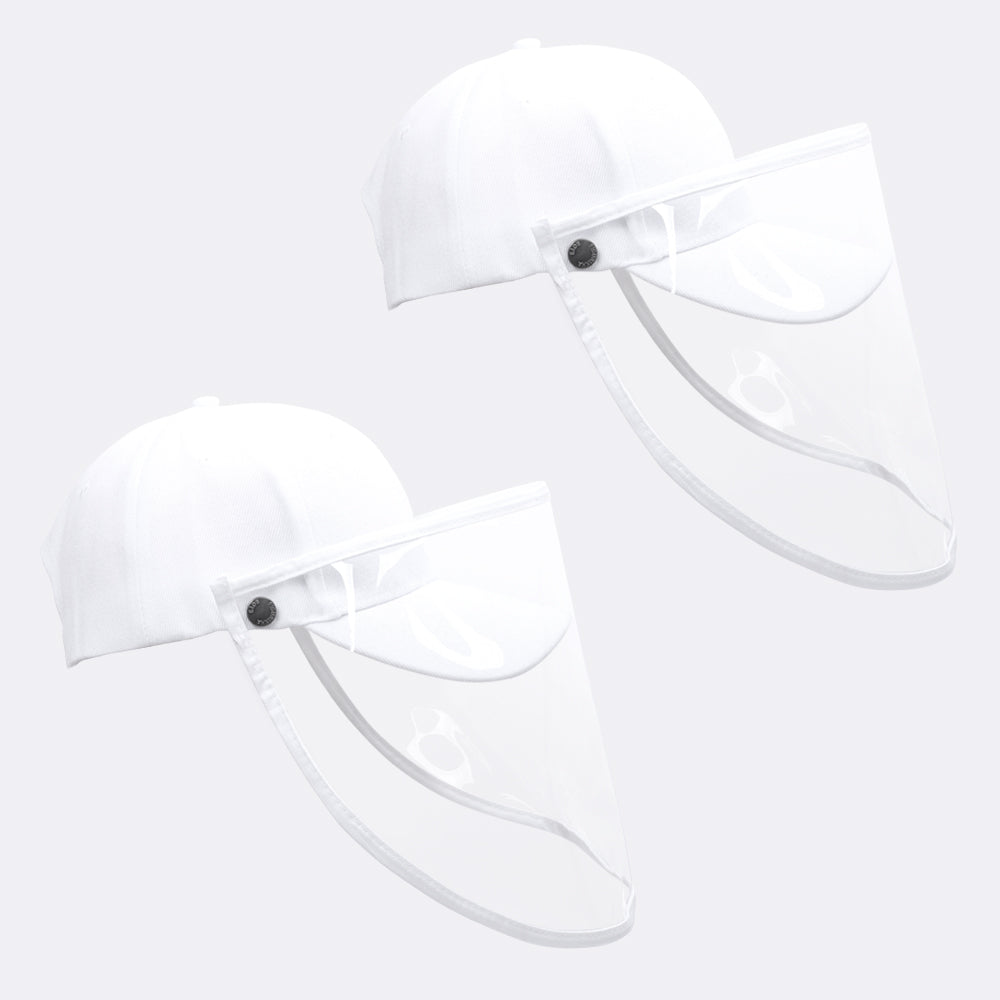 2 Pack Safety Face Shield Visor Mask with Outdoor Removable Buckle Hat for Men Women