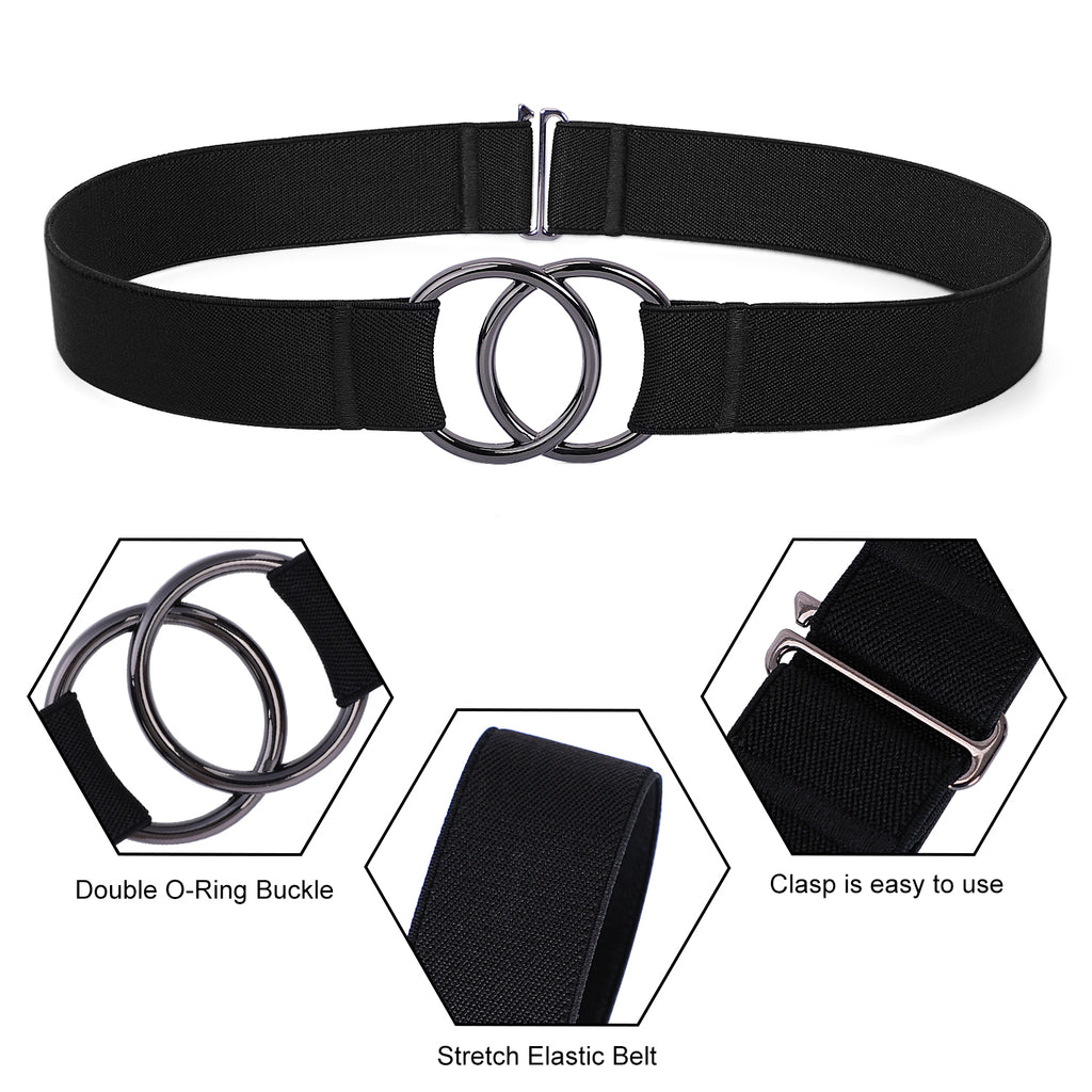 WERFORU Women Stretch Belt for Dresses, Elastic Web Waist Belt with Double O-Ring Buckle