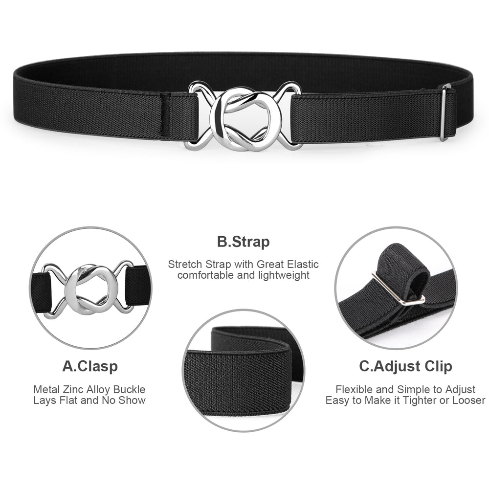 Kids Toddler Belt Elastic Stretch Adjustable Belt For Boys and Girls with Silver Square Buckle 2 Pack - JASGOOD-OFFICIAL
