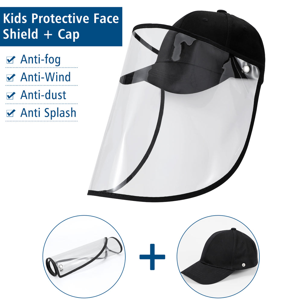 Safety Face Shield Hat, Full Face Protective Shield Anti-Spitting Anti-Saliva Splash Face & Eye, Reusable Baseball Cap with Face Shield and Detachable Transparent Visor for Adult, Men and Women