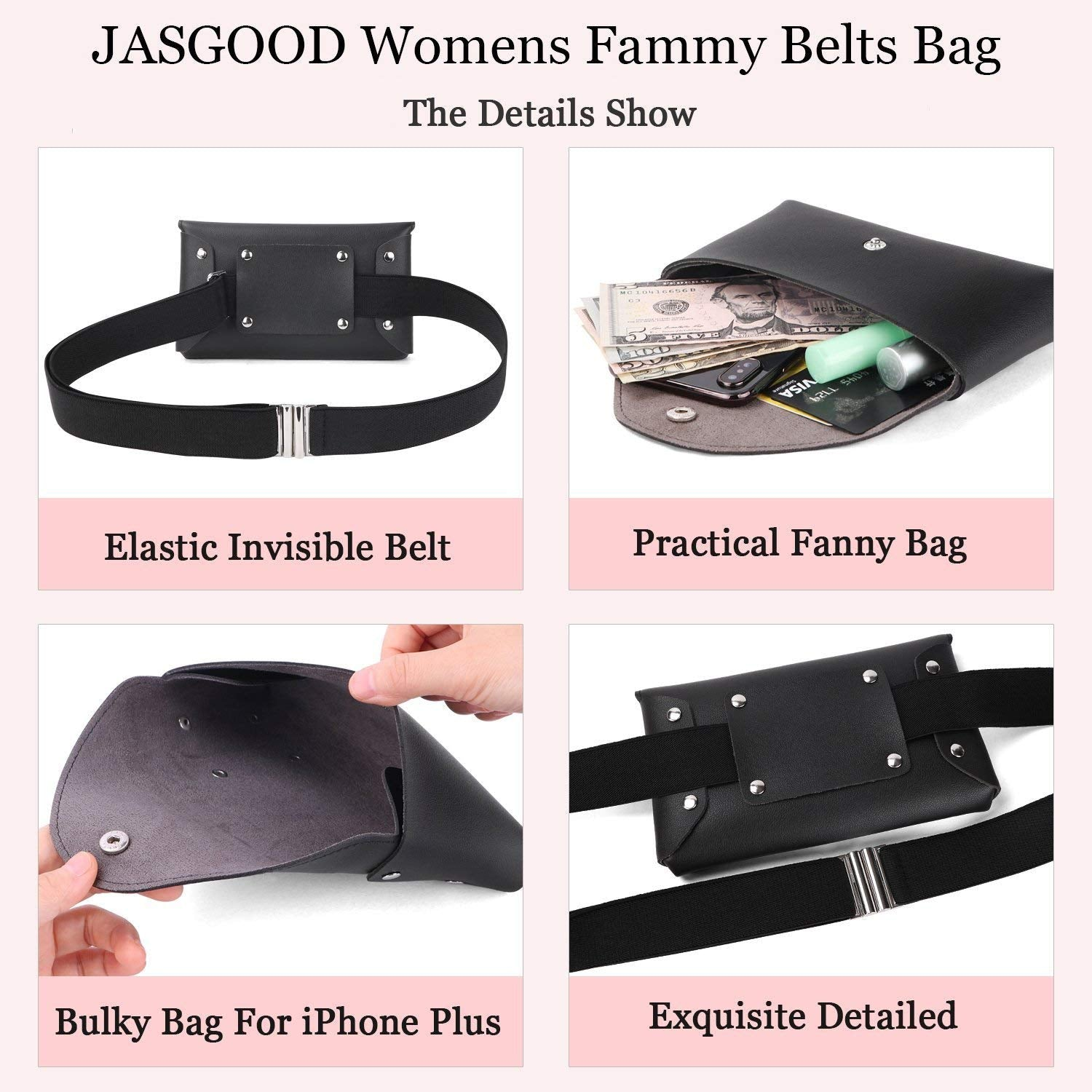 JASGOOD Women Leather Fanny Pack Waist Bag Travel Pouch//Purse with Removable Leather Belt Bag