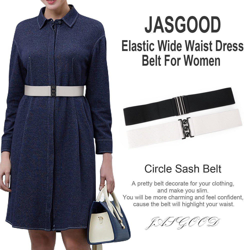 Vintage Wide Elastic Waist Belt Waistband Dress Stretchy Cinch Belt For Women 1.8 Inch Wide by JASGOOD