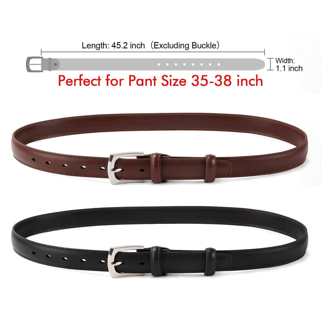 Men's Dress Belt Genuine Leather Black Design Belt with Prong Buckle Elegant Gift Box