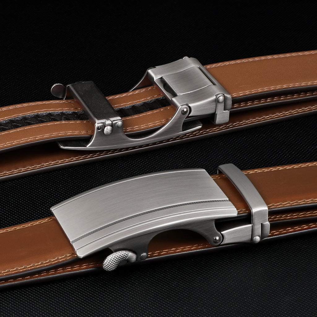 Men's Leather Ratchet Belt Comfort Dress Belt for Men with Automatic Buckle in Gift Box
