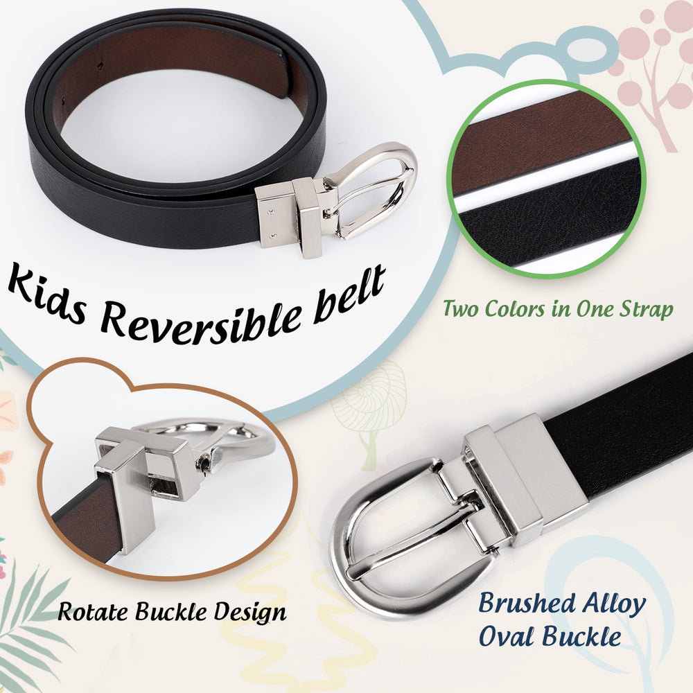 JASGOOD Kids Leather Reversible Belt, Boys Casual Belt for Jeans School Uniform with Rotated Buckle - JASGOOD-OFFICIAL