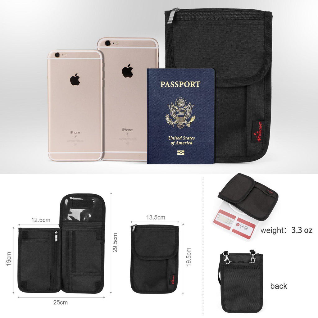 Neck Wallet RFID Blocking- Passport Holder/Concealed Travel Pouch Wallet Carrier