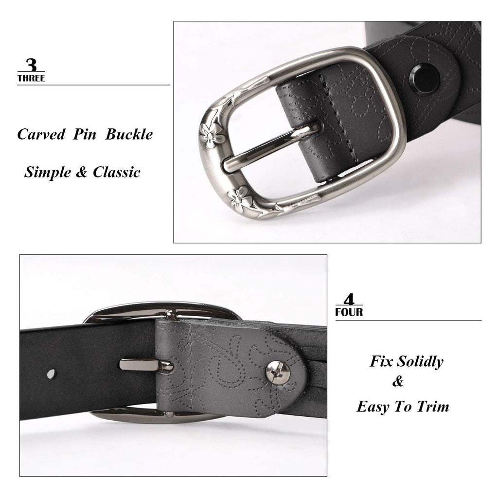 Classic Women Leather Belts for Jeans Floral Embossed Waist Strap with Pin Buckle