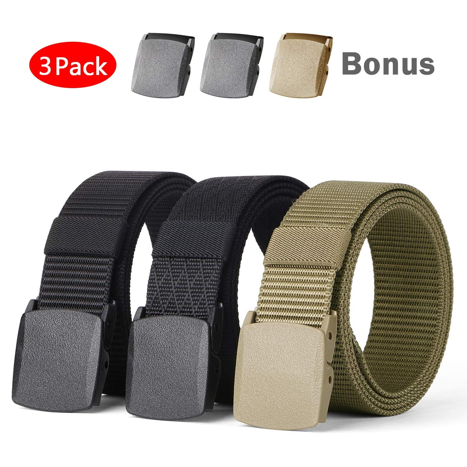 Mens Nylon Outdoor Breathable Military Tactical 1.5/'/' with YKK Plastic Buckle Waist Belt 2 Pack