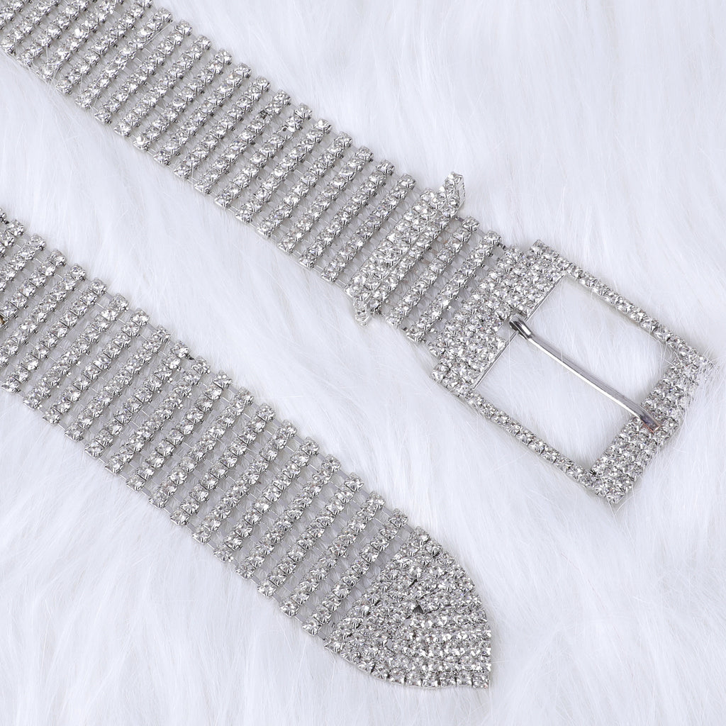 JASGOOD Women Crystal Rhinestone Shiny Waist Belt Sparkle Waistband Waist Chain for Party Club,A-Silver,Suit for Pants Size Below 41 Inches