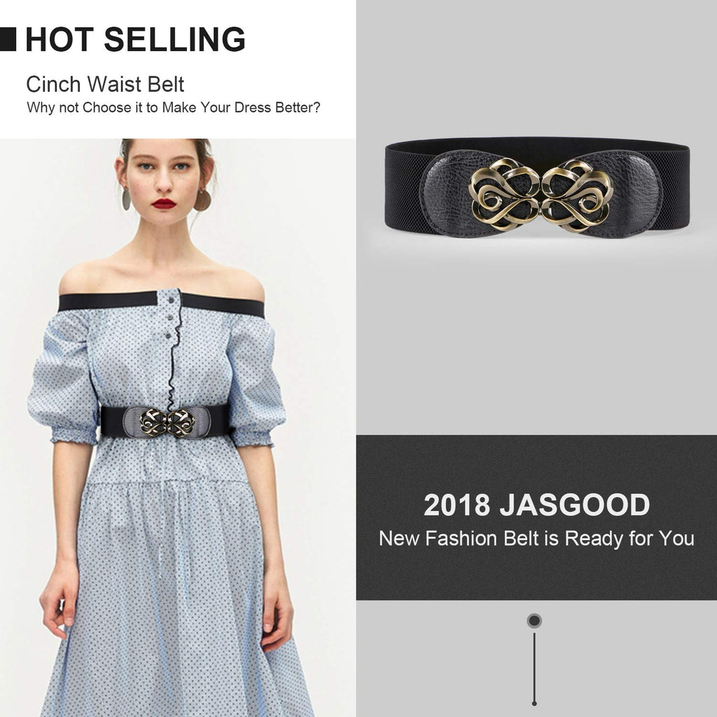 JASGOOD Women Stretchy Belt for Dresses Vintage Elastic Wide Waist Cinch Belt