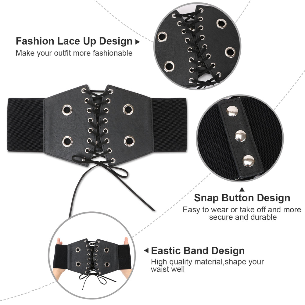 Lace-up Cinch Belt Gothic Steampunk Corset Elastic Waist Belt - JASGOOD-OFFICIAL