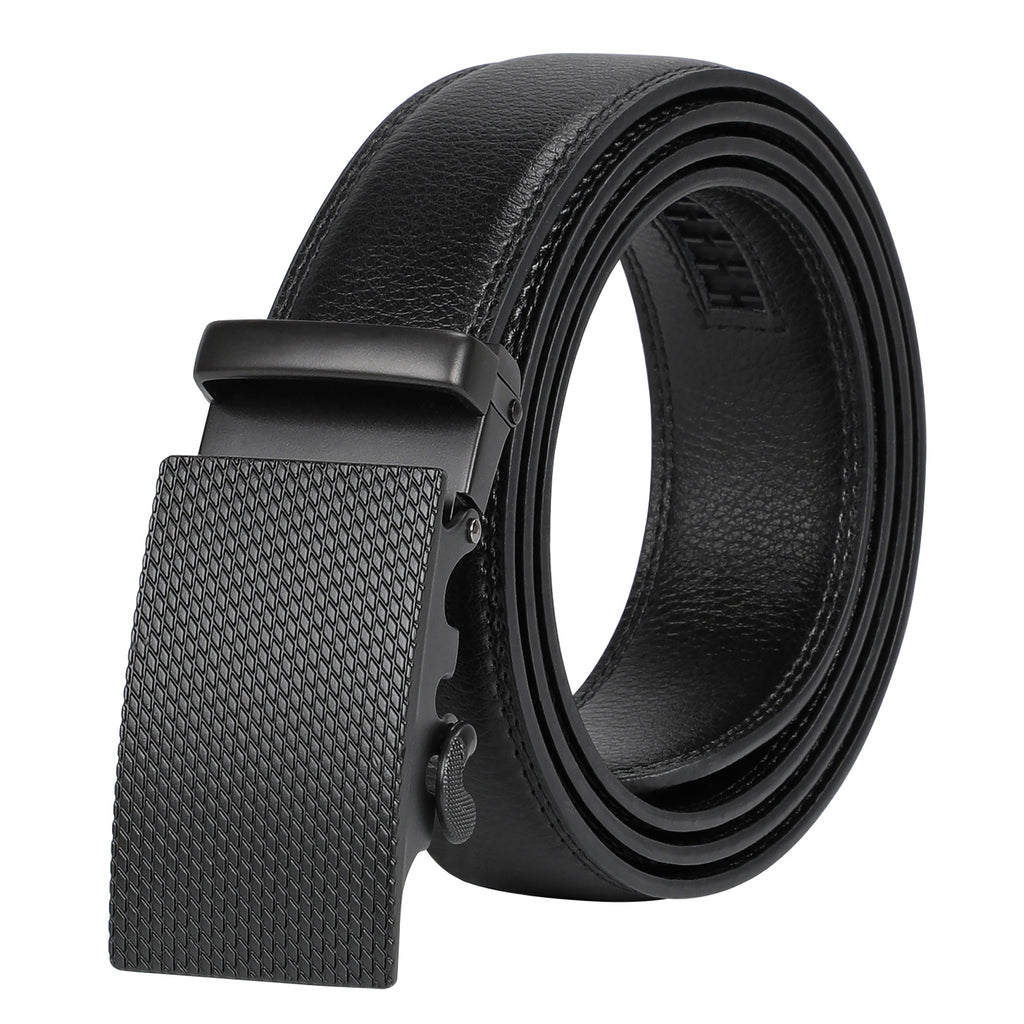 Men's Ratchet Leather Belt for Dress, Sliding Automatic Buckle Belt Fit Waist up to 50 Inch