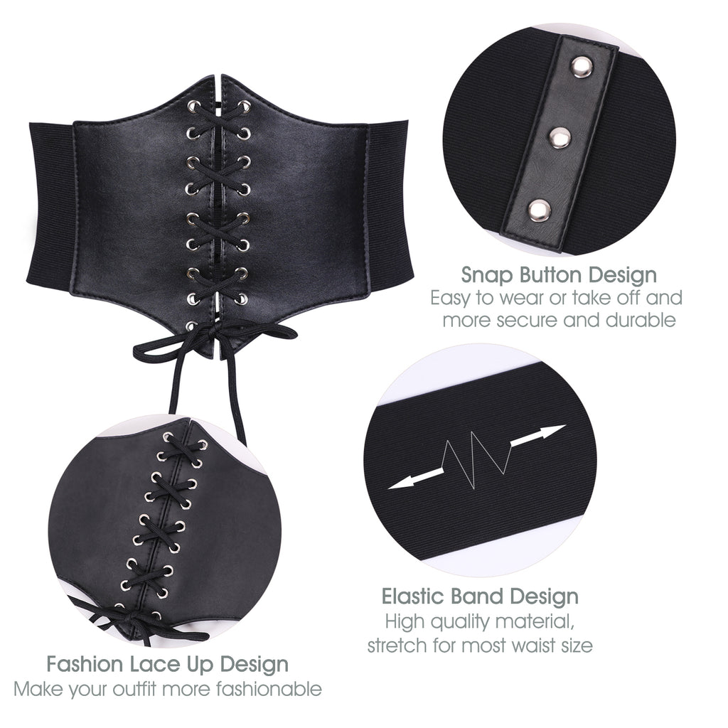 Women's Elastic Costume Waist Belt Lace-up Tied Waspie Corset Belts for Women by JASGOOD