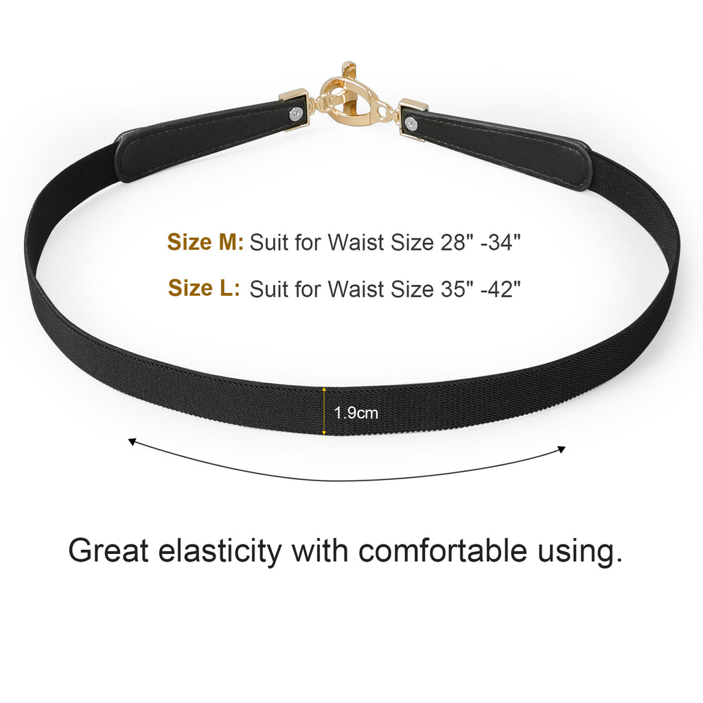 Women Skinny Elastic Stretch Belt for Dresses Retro Ladies Waist Cinch Thin Belt By JASGOOD - JASGOOD-OFFICIAL