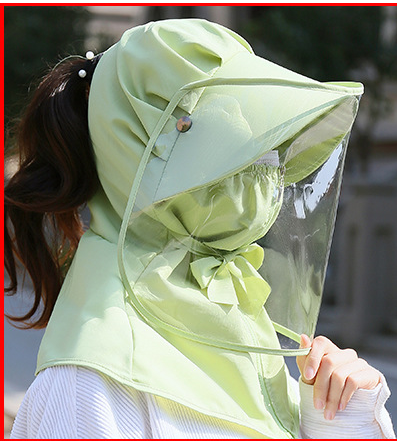 Wide Brim Sun Hat With Detachable Flap and Foldable Mask