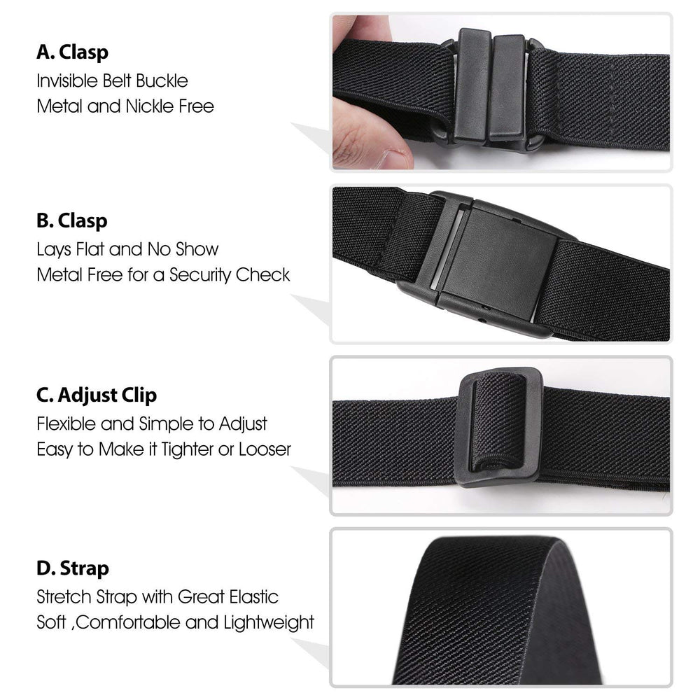 2 Pack Invisible Women Stretch Belt No Show Elastic Web Strap Belt with Flat Buckle for Jeans Pants Dresses