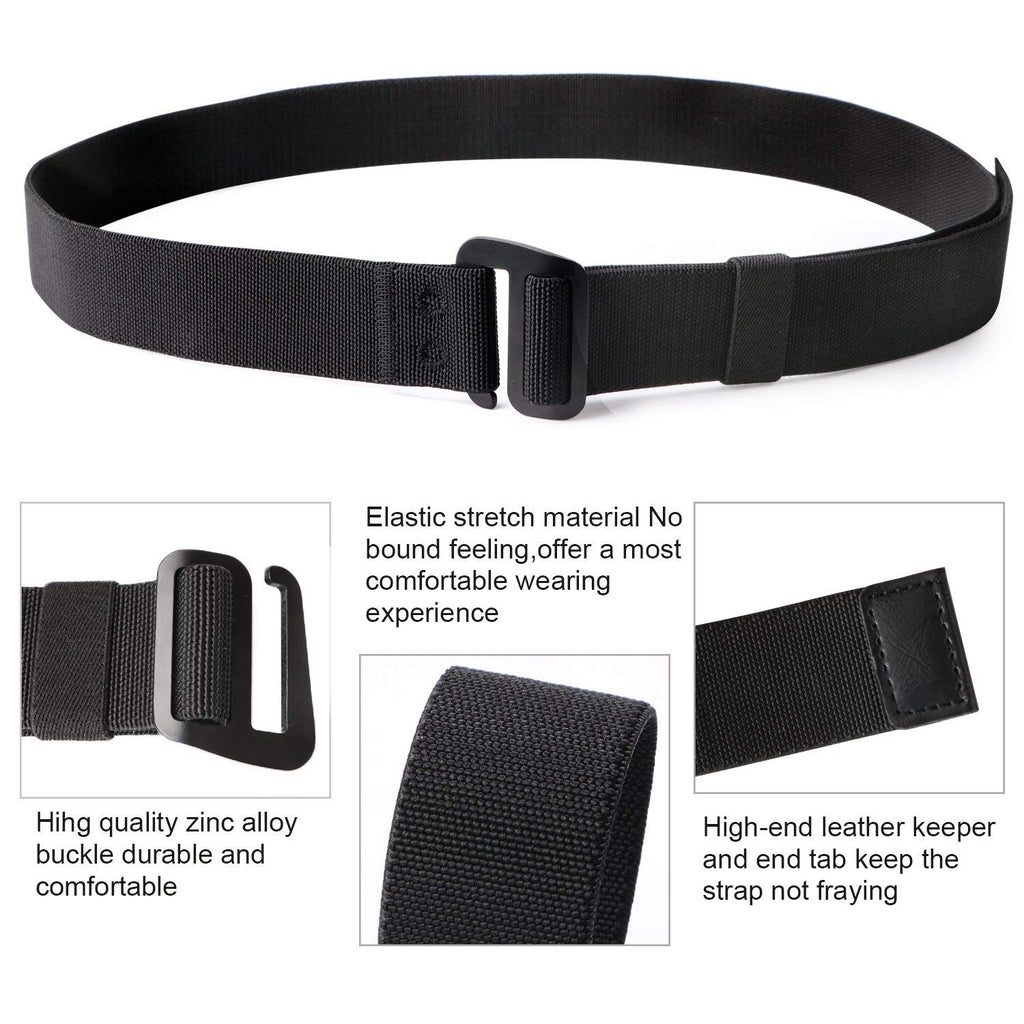 Men's Elastic Stretch Nylon web Jeans Belt Outdoor Casual Belt with Solid Adjustable Buckle By JASGOOD - JASGOOD-OFFICIAL