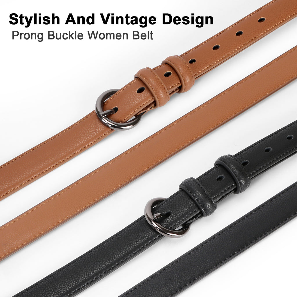 Women Leather Belt Waist Skinny Dress Belts Solid Pin Buckle Belt For Jeans Pants - JASGOOD-OFFICIAL