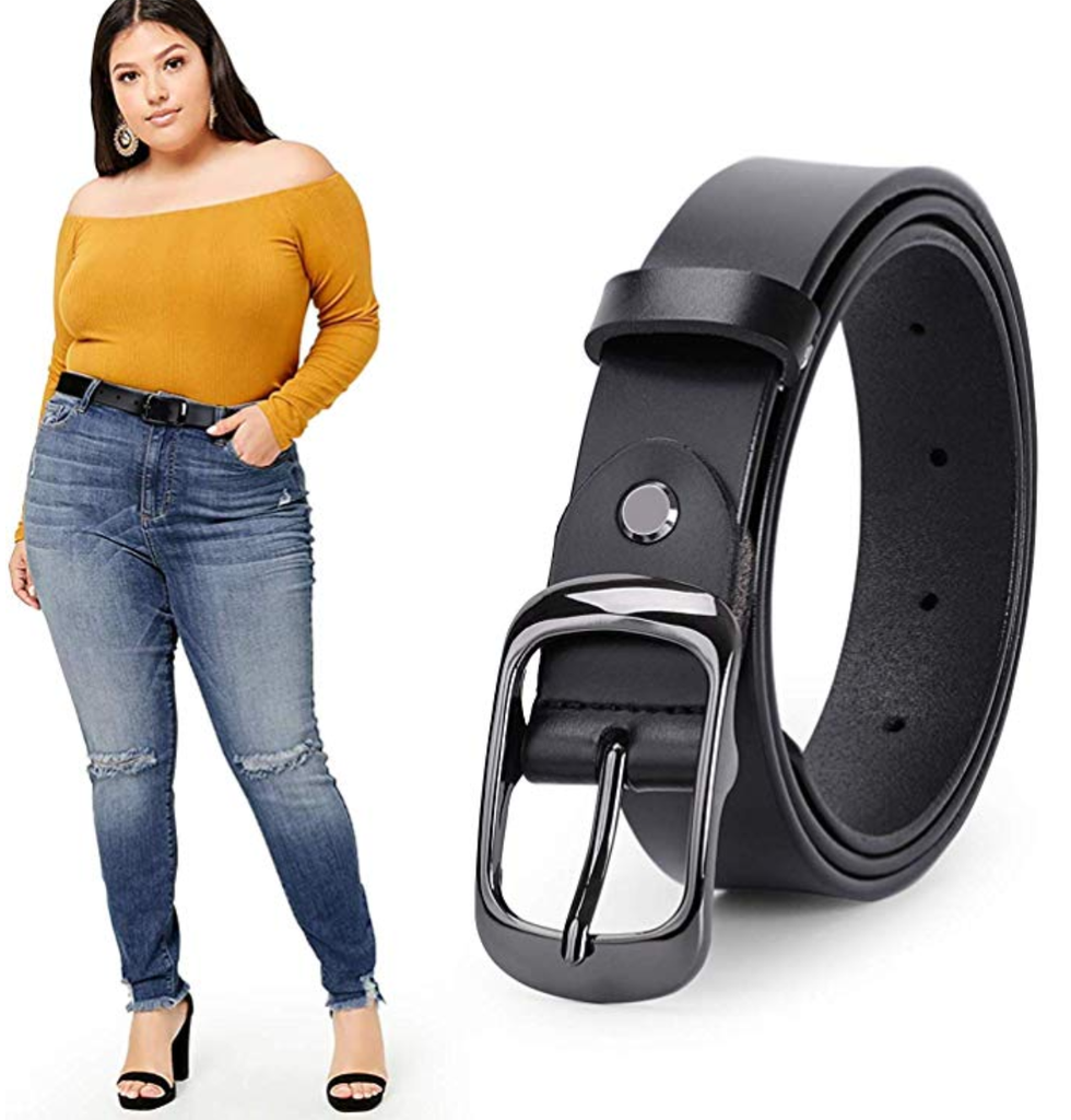 WERFORU Women Black Leather Belt Plus Size Polished Buckle for Jeans Pants