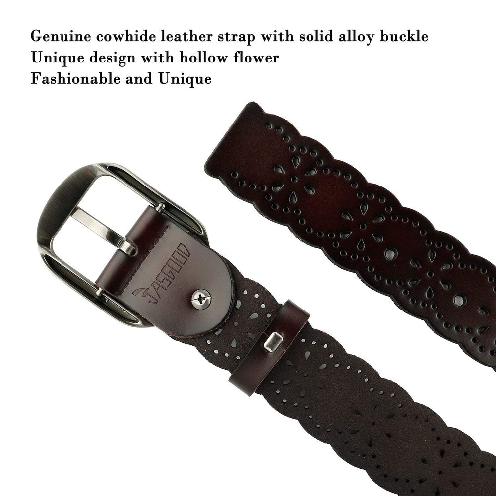 Women's Hollow Flower Genuine Cowhide Leather Belt With Alloy Buckle by JASGOOD - JASGOOD-OFFICIAL