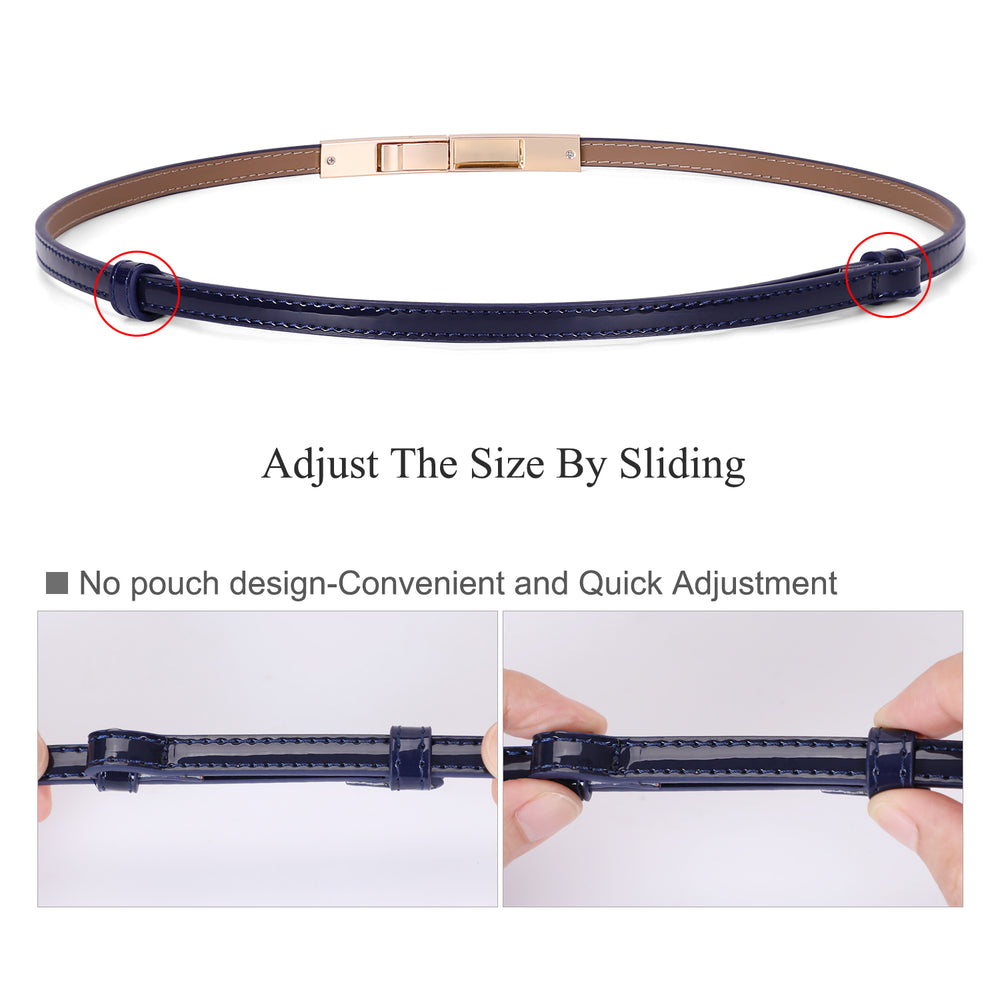 Women's Skinny Blue  Leather Belt Adjustable Slim Waist Belt with Gold Alloy Buckle for Dress By JASGOOD - JASGOOD-OFFICIAL