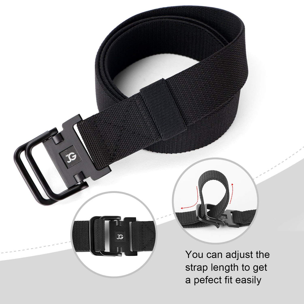 Men's Elastic Stretch Nylon web Jeans Belt Outdoor Casual Belt with Solid Adjustable Buckle By JASGOOD