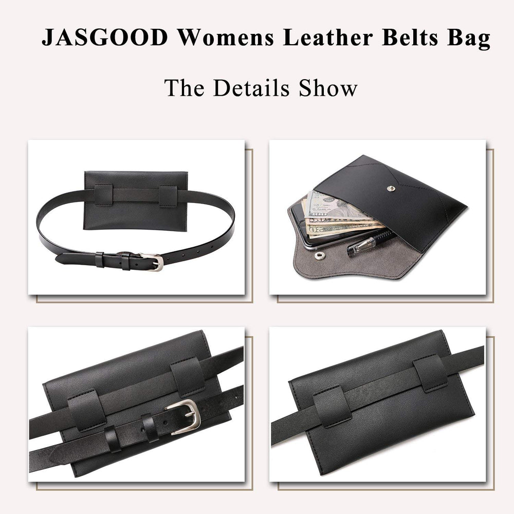 Womens Leather Belt Fanny Pack With Removable Belt Tassel Waist Pouch Fashion Belt Bags by JASGOOD - JASGOOD-OFFICIAL