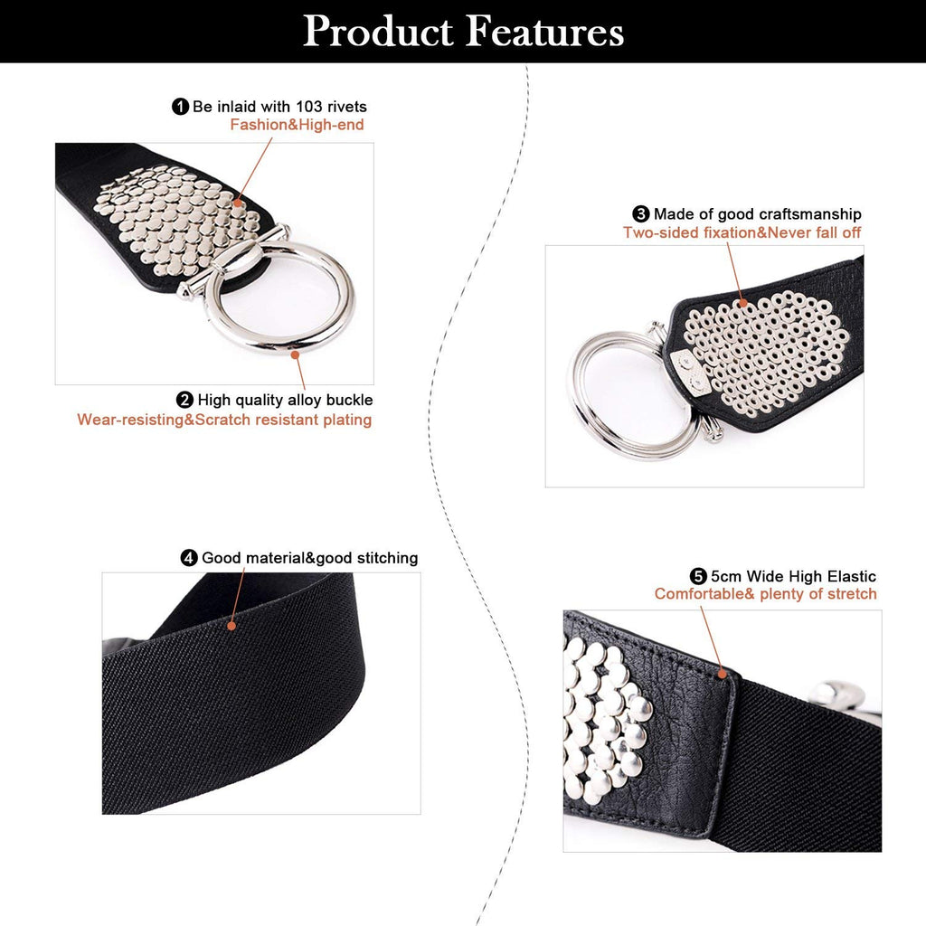 Women's Fashion Vintage Wide Elastic Waist Belt For Dresses With Rivets Studs By JASGOOD