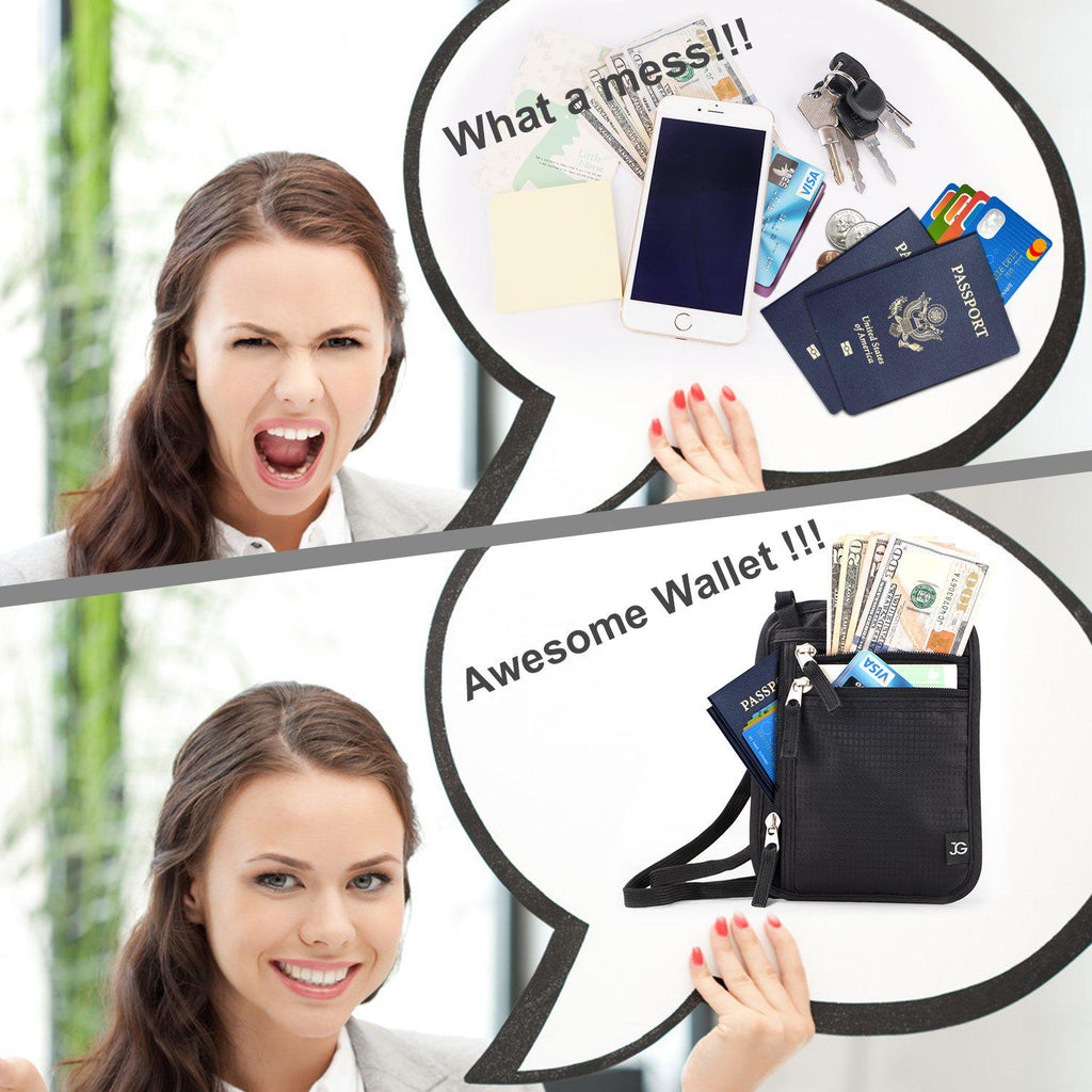 Neck Wallet RFID Blocking- Concealed Travel Pouch & Passport Holder & Travel Wallet Neck Stash Money Carrier Slim ID Card Holder  by JASGOOD - JASGOOD-OFFICIAL