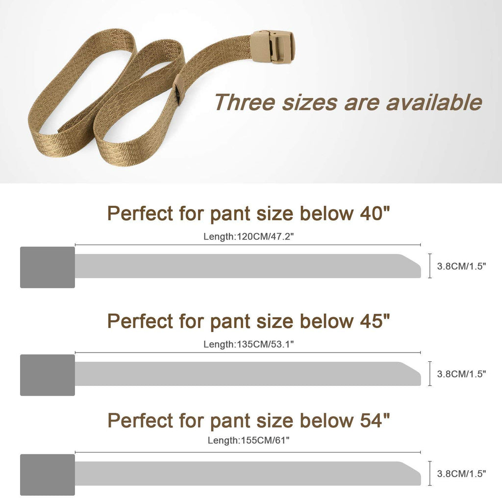 Unisex Nickel Free Belt 1.5 In Nylon Adjustable Web Belt with Plastic Buckle by JASGOOD