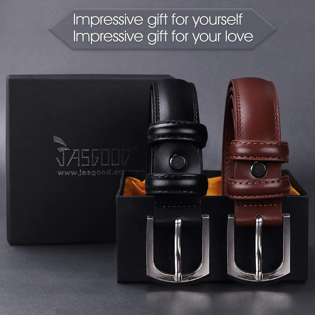 Men's Dress Belt Genuine Leather Black Design Belt with Prong Buckle Elegant Gift Box - JASGOOD-OFFICIAL
