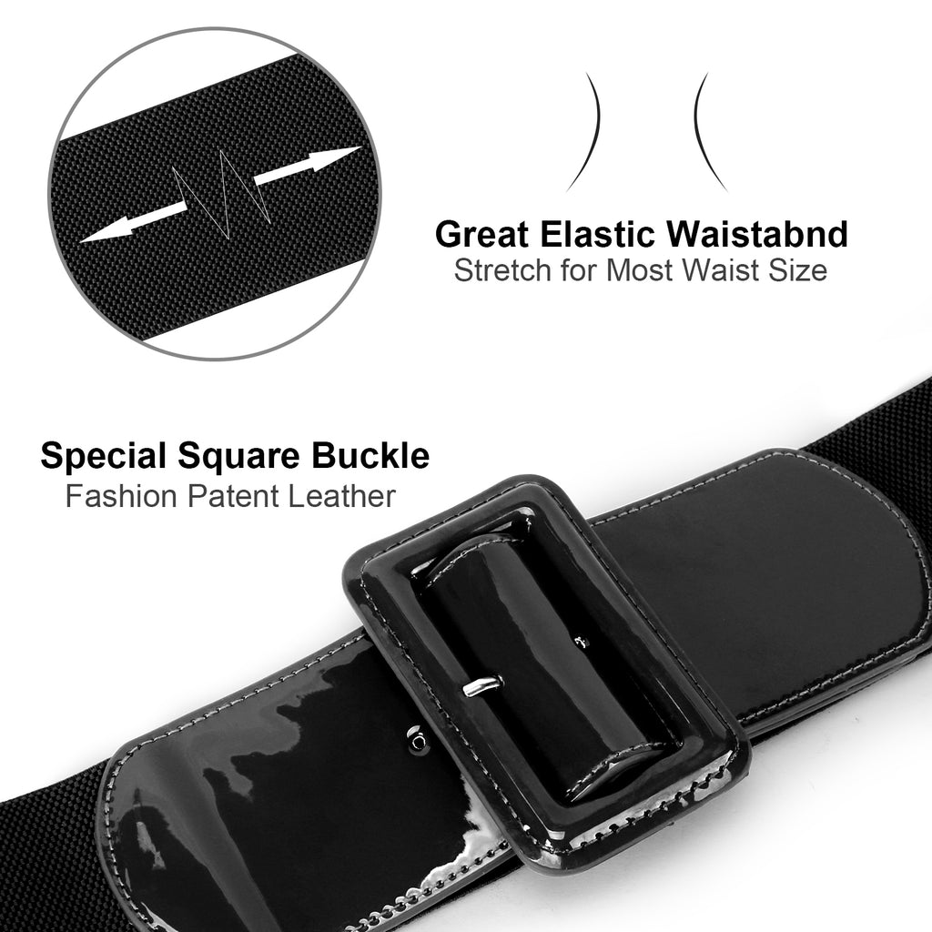 "Women Stretchy Waist Belt Patent Leather 2.95"" Wide Simple Square Buckle by JASGOOD"
