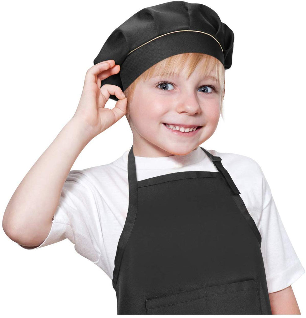 JASGOOD Aprons and Chef Hats for Kids White with 2 Pockets for Cooking Baking Painting Adjustable Girls Boys Aprons for Kids Age 3-9